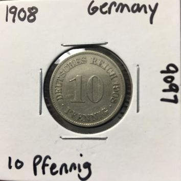 1908 German Empire 10 Pfennig Coin 9097