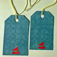 10 pcs Handmade Nautical Tags, Red Boat, Blue Ocean, Wedding Decor, Party Decor, Card and Scrapbook supply, craft supply, Summer Memory