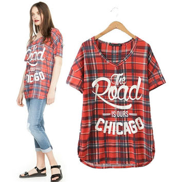 Stylish V-neck Short Sleeve Red Alphabet Print Pullover Women's Fashion Tops T-shirts [5013383748]