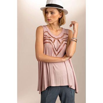 Cutout detailed sleeveless top - Dusty pink By POL