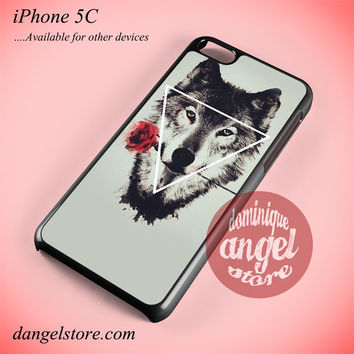 Hipster Wolf And Rose Phone case for iPhone 5C and another iPhone devices
