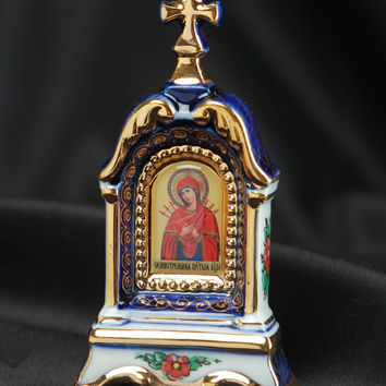Handmade Porcelain kiot with Gzhel painting religious sacred decorated gift