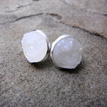 White Druzy Earrings, White Earrings, White Crystal Earrings, Faux Druzy Earrings, Gemstone Earrings, Stone Earrings, Druzy Stud Earrings