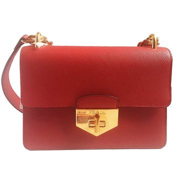 Prada Women's Red Saffiano Handbag 1BD089