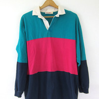 Rugby Polo tee Shirt. 90s collar neck Stripe Boyfriend Henley Top Green Blue Pink Oversized baggy Hipster COED Tomboy Shirt size Large