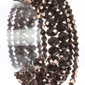 Brown Metallic Bead Coil Wire Bracelet