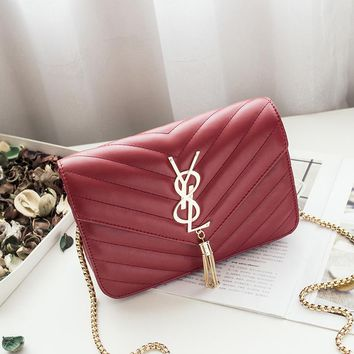 Women Simple Fashion Y Letter Rhombus Metal Chain Single Shoulder Messenger Bag Small Square Bag