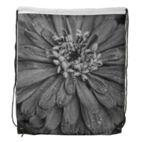 Black and White Flower Cinch Bag