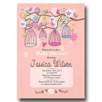 Birdcages baby shower Invitation baby girl baby boy  Whimsical design shabby chic flora invitation - card 159