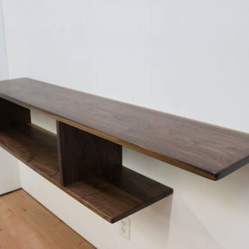 Asymmetrical Wood Floating Entry Table / Console, Shelf