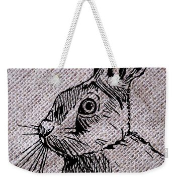 Hare On Burlap - Weekender Tote Bag