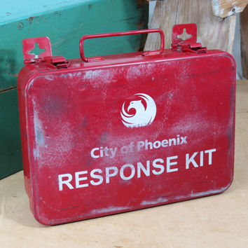 First Aid Response Kit Metal Case City of Phoenix . Vintage Red Emergency Box With A Few Supplies Inside