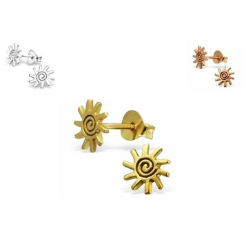 Genuine 925 Sterling Silver 14K Gold Plated + E-Coat Plain Sun Earrings Ear Stud
