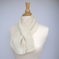 Cream Knit Scarf, Angora & Alpaca Wool, Pull Through Keyhole Ascot, Super Soft Fluffy