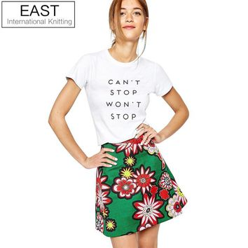 EAST KNITTING H657 2017 New Summer Harajuku Women T Shirt Couple Tees Funny Can't Stop Won't Stop Print Top Plus Size