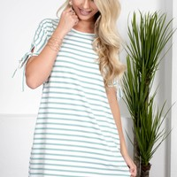 Sea Green Striped Pocket Dress