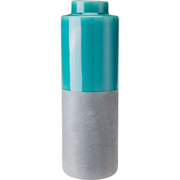 Teal & Gray Stoneware Bottle, Large