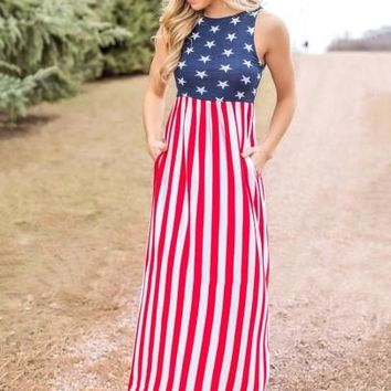 Sleeveless American Flag Pattern Women's Maxi Dress