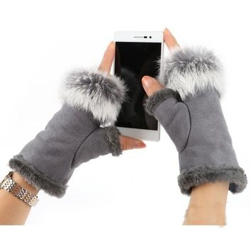 Rabbit Fur Leather Lady Fingerless Suede Mittens Women Winter Warmer Wrist Gloves