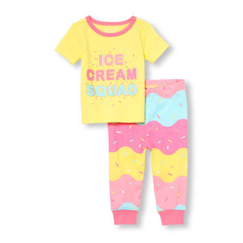 Baby And Toddler Girls Short Sleeve Glow-In-The-Dark 'Ice Cream Squad' Top And Printed Pants Snug-Fit PJ Set