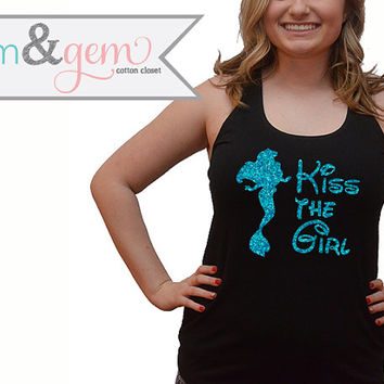 "Disney's The Little Mermaid Shirt // Glitter ""Kiss the Girl"" Shirt, Tank // Princess Ariel Shirt // Disney World Shirt // Disney Movie Shirt"