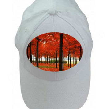 Fall Autumn Leaves Color Trees in the Park Whte 100% Cotton Adjustable Cap Hat