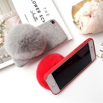 Fashion Warm Winter Fur Case for iphone 7 6 6s Plus Funda Cute DIY Fur Ball Phone Cases Stand Holder Hard PC Fuzzy Plush Cover
