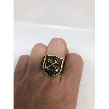 Vintage Gothic Golden Stainless Steel Navy Anchor Mens Ring