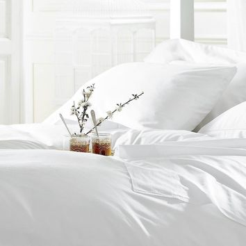 """2 Pack Twin size (66""""x108"""") Flat Sheet White T-250 Percale Hotel Linen Breathable, Extra Soft and Comfortable - Wrinkle, Fade and Stain Resistant"""