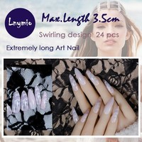 Extremely long Art Nails swirling pattern false nails 24 pcs
