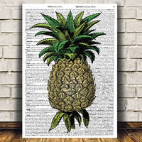 Pinapple poster Food art Kitchen print Vintage print RTA701