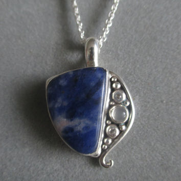 One of a Kind Sterling Silver Sodalite Pendant