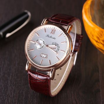Men's Leather Quartz Wrist Watch