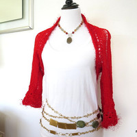 Red bolero shrug, fancy sparkly knit sweater shrug, Valentines Day jacket