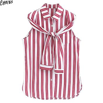 Red Striped Split Long Sleeve Two Ways Casual Shirt Women Pocket and Buttons up Front Turn Dowm Collar Fall Loose Top