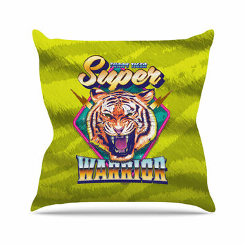 "Roberlan ""Super Furry Tiger Warrior "" Green Orange Outdoor Throw Pillow"