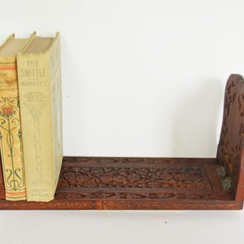 Vintage Book Stand, Wooden Book Holder, Expandable Book Shelf, Floral Hand Carved Book Holder, Teak Wood Book Stand, Moroccan Décor,  Boho