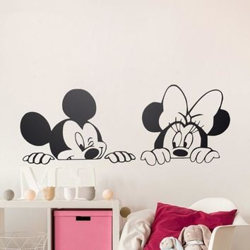 Cartoon Mickey Minnie Mouse Vinyl Wall stickers,removable nursery wall art,free ship