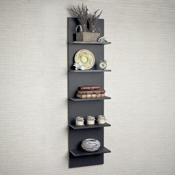 Black Grain Finish Wide Column Wall Shelf by Danya B