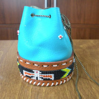 Turquoise Deer Hide Coin Purse