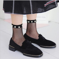 2017 Harajuku goth punk unif series cool female essential hollow thin black fishnet short socks women sexy pearl socks