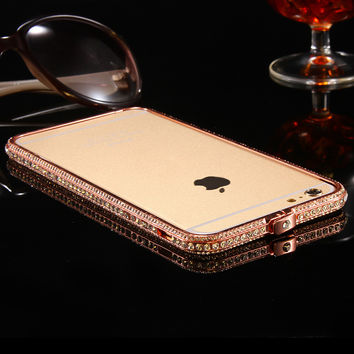 FLOVEME Shiny Rhinestone Bumper For iPhone 6 Plus Case Glitter Aluminum Case for iPhone 6 6s Metal Diamond Mobile Phone Cases