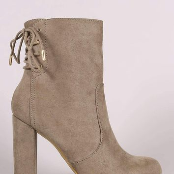 Bamboo Suede Back Lace Up Chunky Heeled Booties