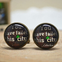 Arrow Cufflink,'You Have Failed This City' cuff Links,Green Arrow Superhero Men accessories  (CL20)