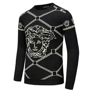 Versace 2018 winter new warm men's round neck long-sleeved sweater