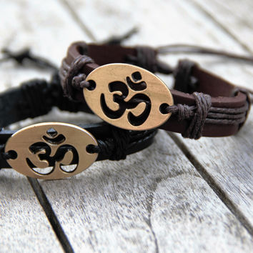 OM Leather Bracelet - Adjustable Slip Knot