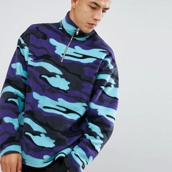 Reclaimed Vintage Inspired Jacket In Camo Fleece With Half Zip at asos.com