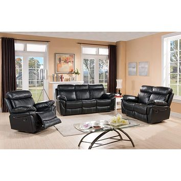 Rocking Recliner Chair With Faux Leatherette Upholstery - Black