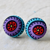 Fabric Earrings, Buttton Earrings, Boho Earrings, Gypsy Earring Studs, Tribal Earrings
