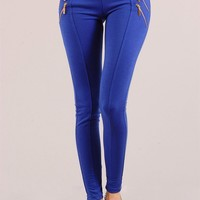 Blue Cotton Leggings with Four Front Zippers